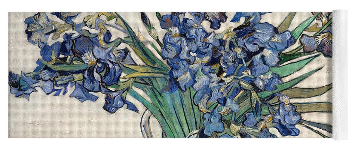 Van Gogh Vase Irises Yoga Mat featuring the painting Vase With Irises by Van Gogh
