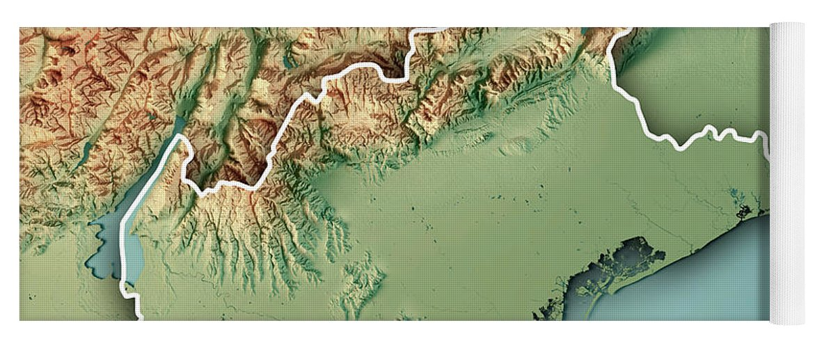Topographic Map Italy.Veneto State Italy 3d Render Topographic Map Border Yoga Mat For