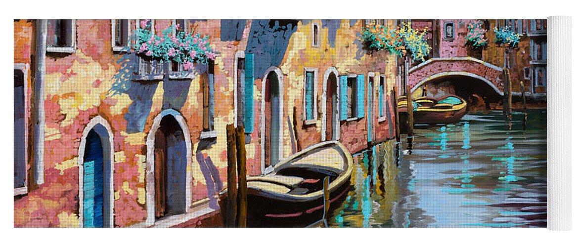 Venice Yoga Mat featuring the painting Venezia Tutta Rosa by Guido Borelli