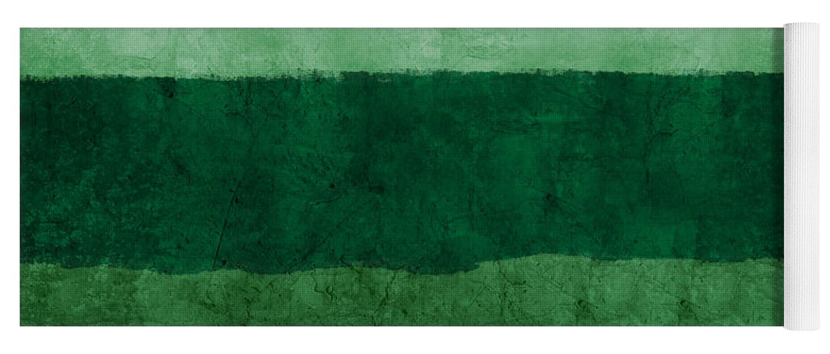 Green Yoga Mat featuring the painting Verde Landscape 1- Art By Linda Woods by Linda Woods
