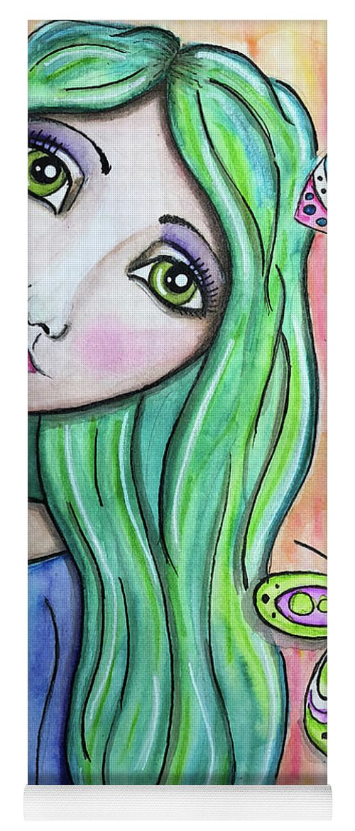Whimsical Character Yoga Mat featuring the painting Hazel by Nadine Larder