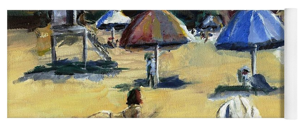 Umbrella Yoga Mat featuring the painting Victoria Beach White Hat by Randy Sprout