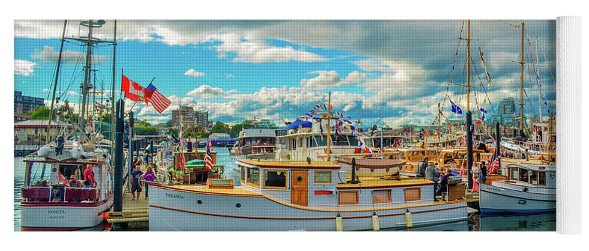 Boats Yoga Mat featuring the photograph Victoria Harbor old boats by Jason Brooks