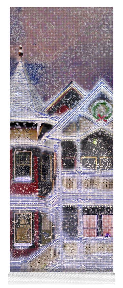 House Yoga Mat featuring the digital art Victorian Christmas by Steve Karol