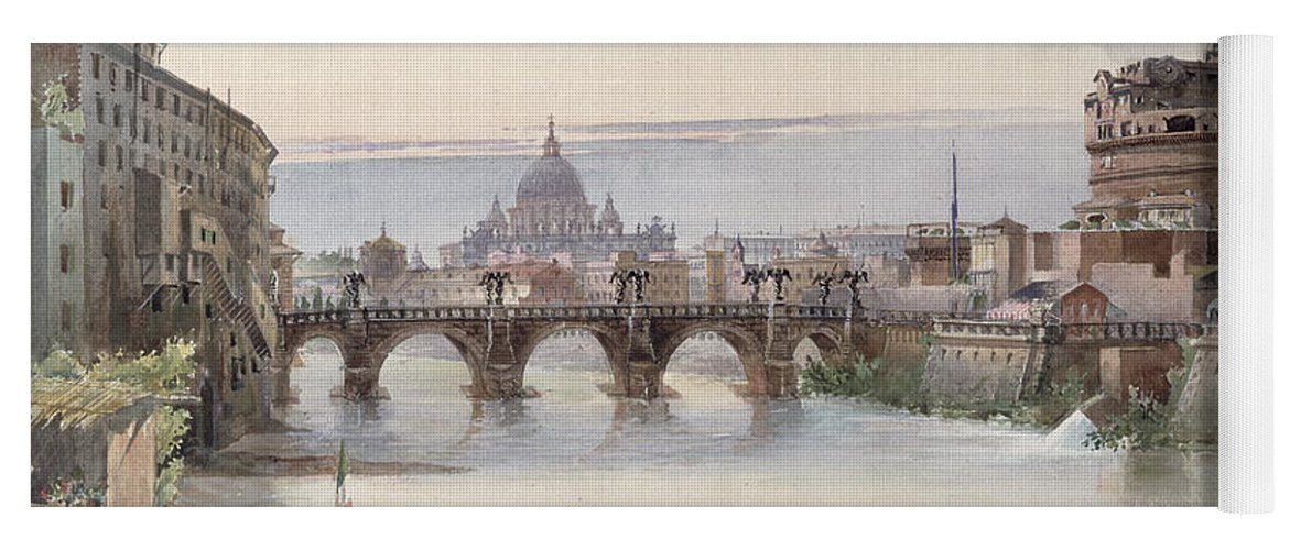 View Yoga Mat featuring the painting View Of Rome by I Martin