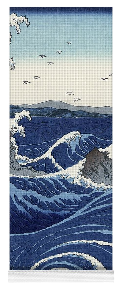 View Yoga Mat featuring the painting View Of The Naruto Whirlpools At Awa by Hiroshige