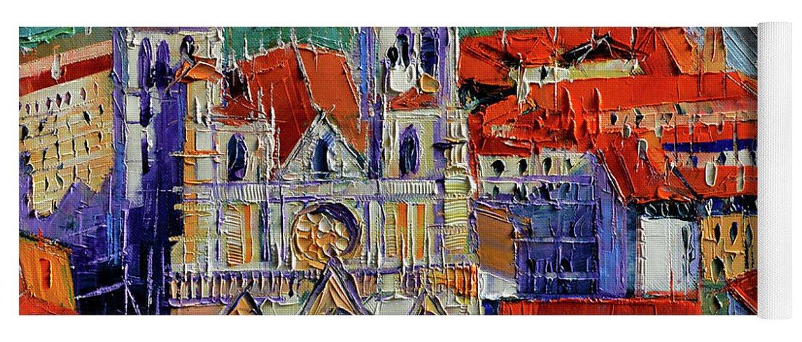 View Over Cathedral Saint Jean Lyon Yoga Mat featuring the painting View Over Cathedral Saint Jean Lyon by Mona Edulesco