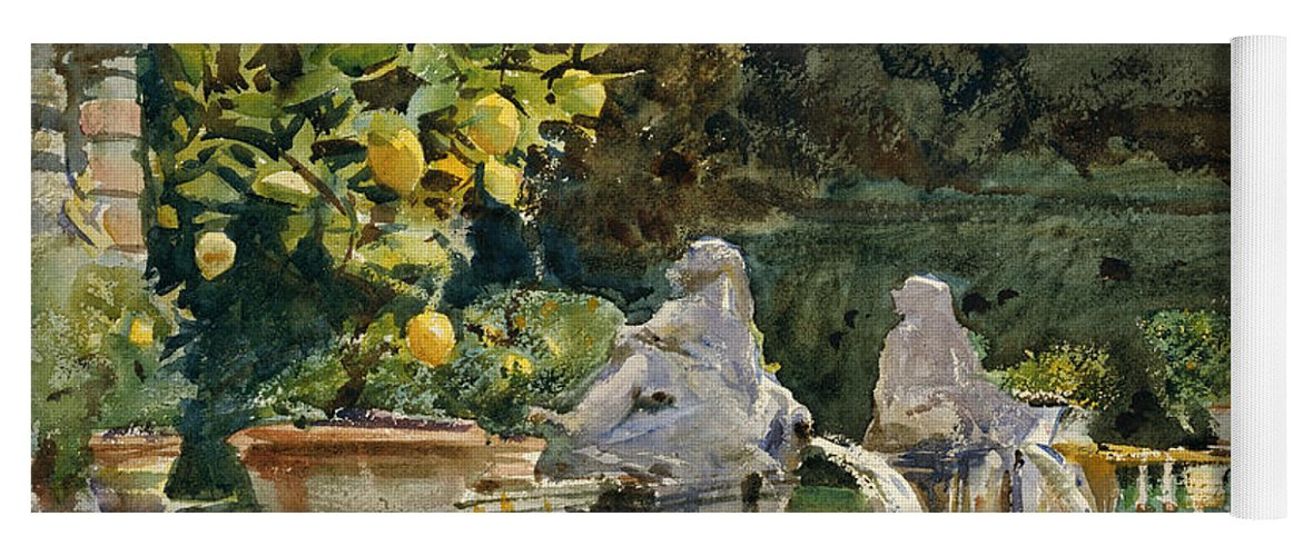 Sargent Yoga Mat featuring the painting Villa Di Marlia Lucca A Fountain by John Singer Sargent