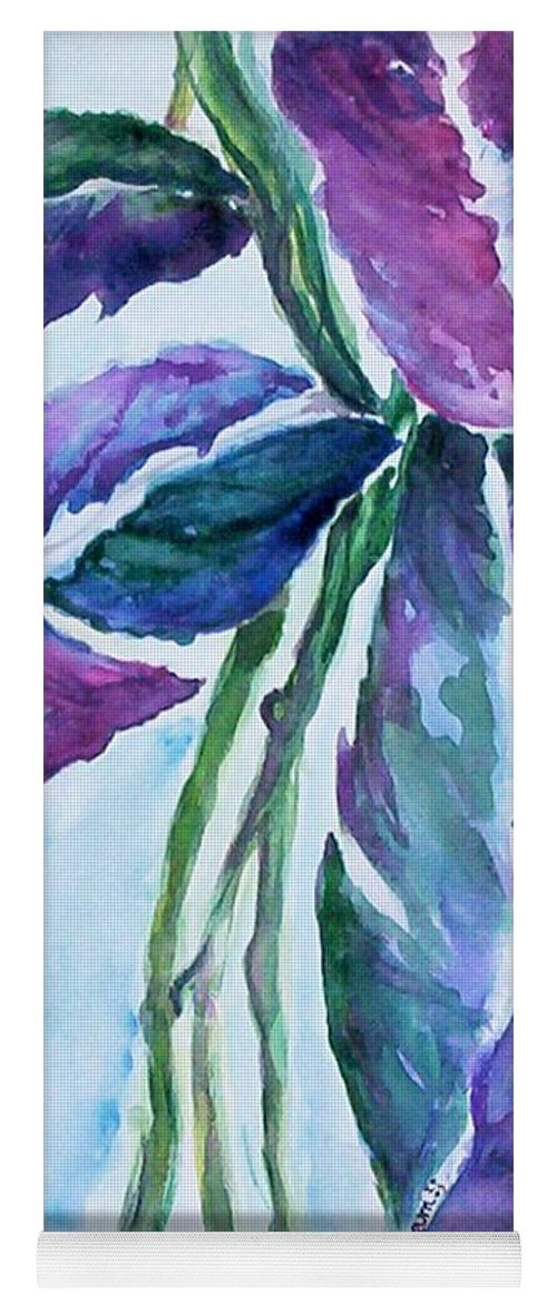 Landscape Yoga Mat featuring the painting Vine by Suzanne Udell Levinger