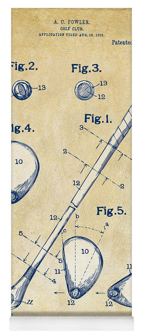 Golf Yoga Mat featuring the digital art Vintage 1910 Golf Club Patent Artwork by Nikki Marie Smith