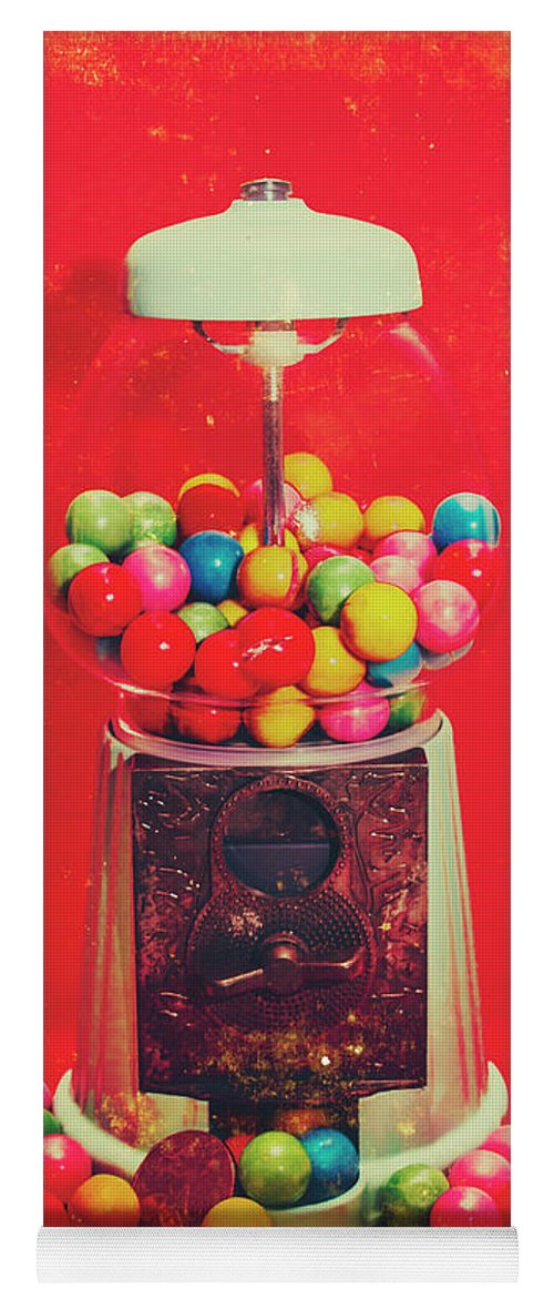 Retro Yoga Mat featuring the photograph Vintage Candy Store Gum Ball Machine by Jorgo Photography - Wall Art Gallery