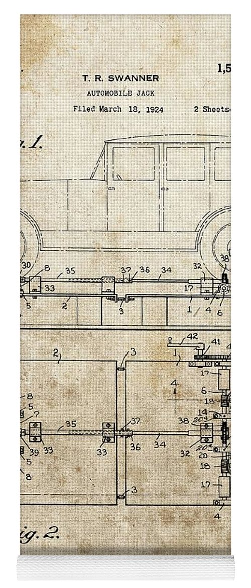 Lift Jack Patent Yoga Mat featuring the drawing Vintage Car Jack Patent by Dan Sproul