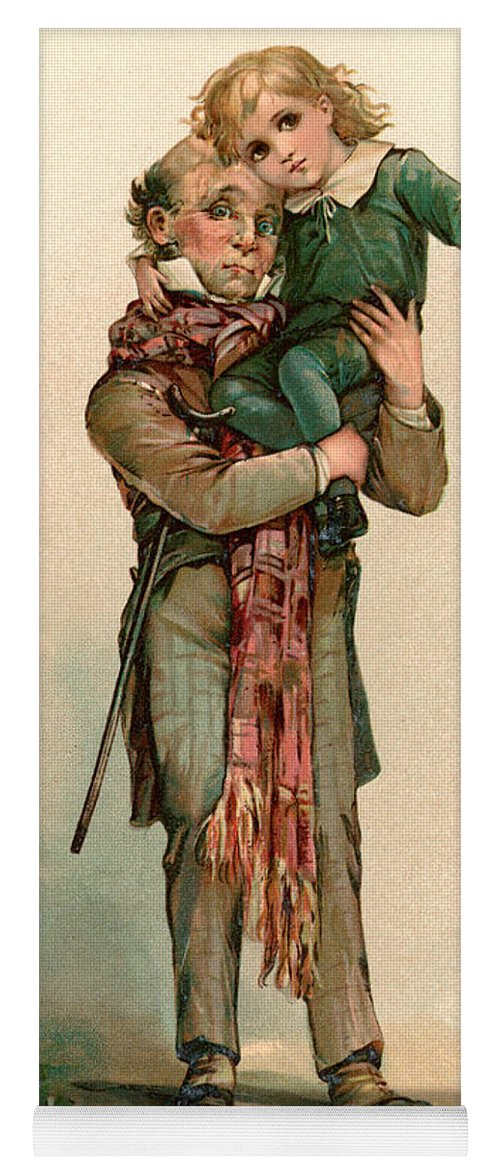 Vintage Christmas Card Depicting Bob Cratchit Carrying Tiny Tim Yoga ...