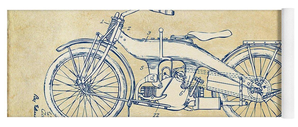 Harley-davidson Yoga Mat featuring the digital art Vintage Harley-davidson Motorcycle 1924 Patent Artwork by Nikki Smith