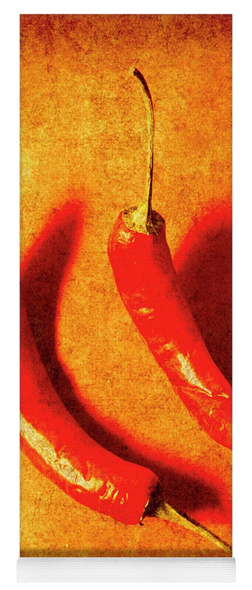 Spice Yoga Mat featuring the photograph Vintage Hot Curry Peppers by Jorgo Photography - Wall Art Gallery