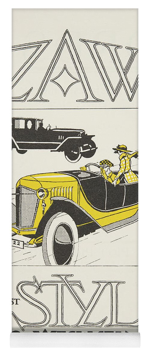 Vintage Poster Yoga Mat featuring the drawing Vintage Poster Depicting Classic Car From The Twenties by German School