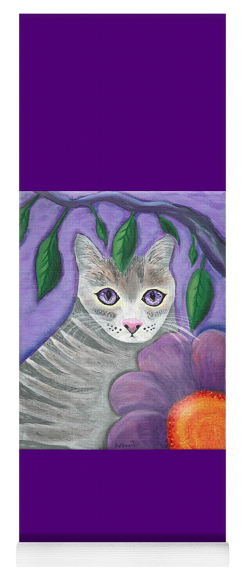 Violet Purple Lavender Eyes Kitty Cat Flower Floral Tabby Grey Yoga Mat featuring the painting Violet Eyed Cat by Monica Resinger