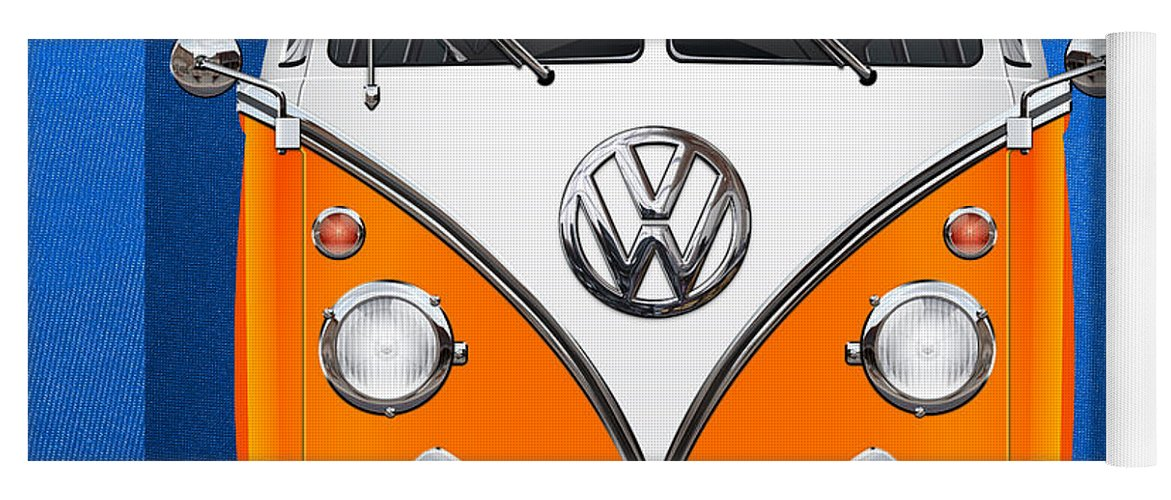 'volkswagen Type 2' Collection By Serge Averbukh Yoga Mat featuring the photograph Volkswagen Type - Orange and White Volkswagen T 1 Samba Bus over Blue Canvas by Serge Averbukh