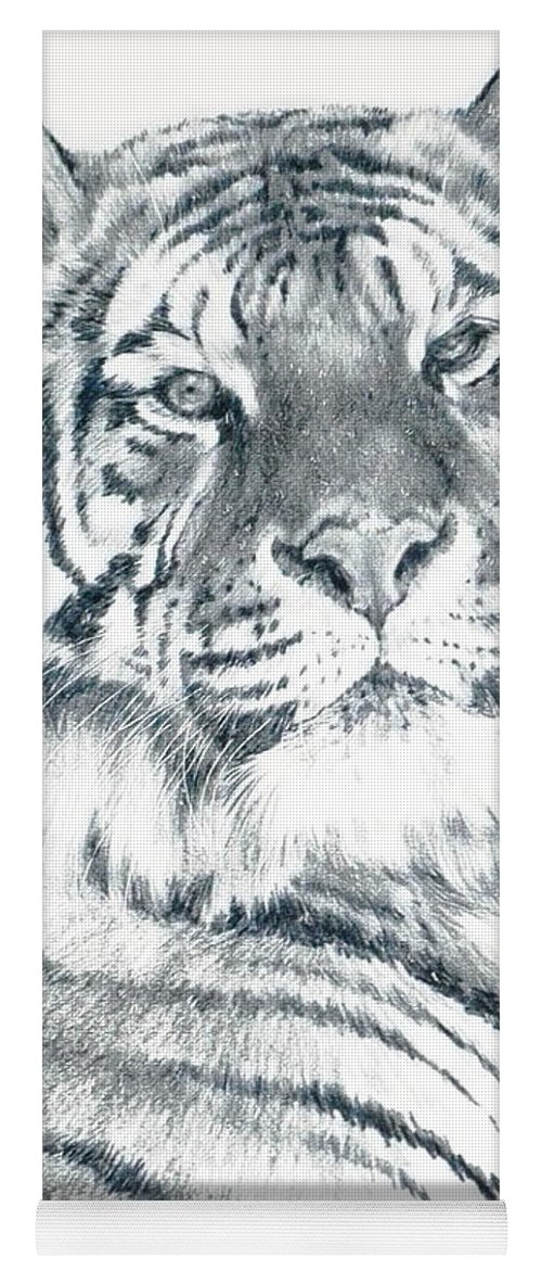 Tiger Yoga Mat featuring the drawing Voyager by Barbara Keith