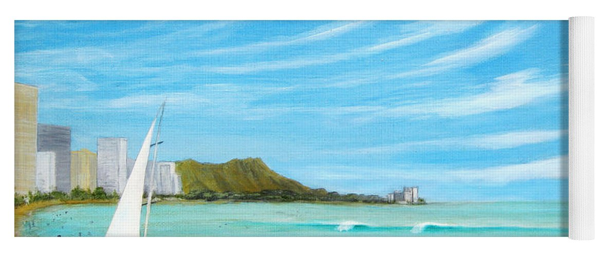 Waikiki Yoga Mat featuring the painting Waikiki by Jerome Stumphauzer