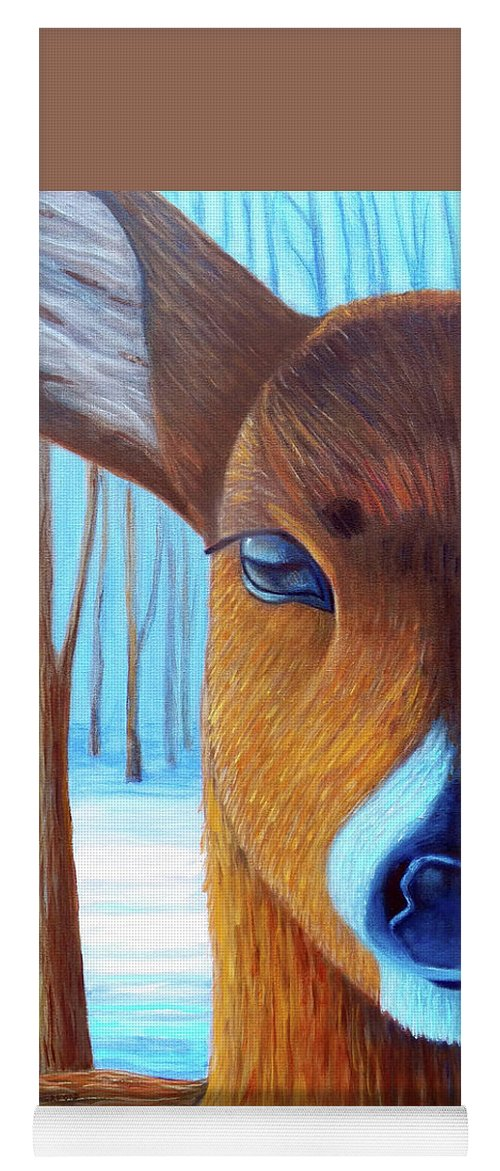 Deer Yoga Mat featuring the painting Wait For The Magic by Brian Commerford