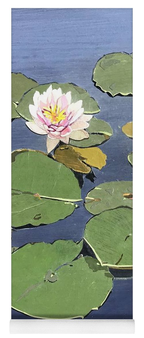 Recycled Yoga Mat featuring the painting Waiting Lotus by Leah Tomaino