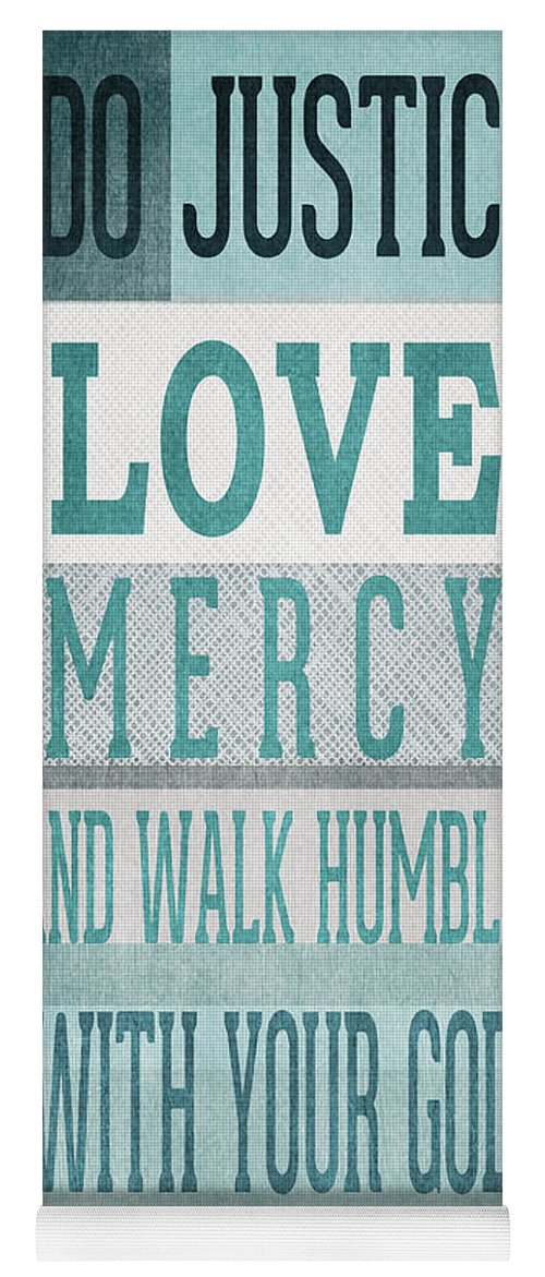 Micah 6:8 Yoga Mat featuring the mixed media Walk Humbly- Tall Version by Linda Woods