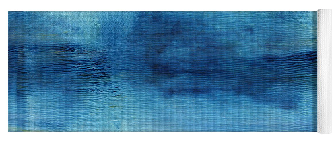 Blue Yoga Mat featuring the painting Wash Away- Abstract Art by Linda Woods by Linda Woods