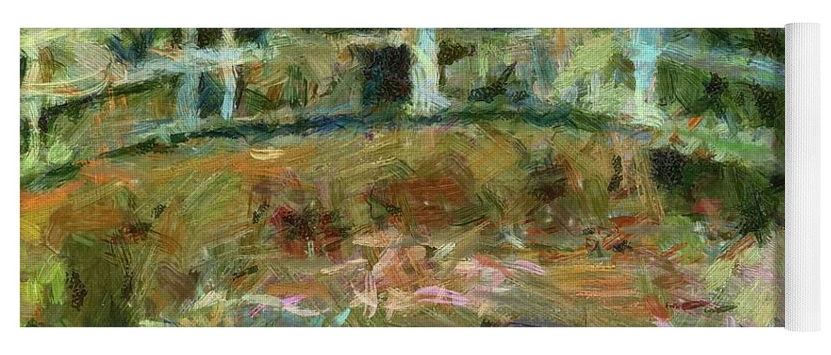 Landscape Yoga Mat featuring the painting Waterlily Pond by Dragica Micki Fortuna