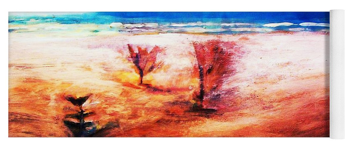 Beaches Yoga Mat featuring the painting Water And Earth by Winsome Gunning