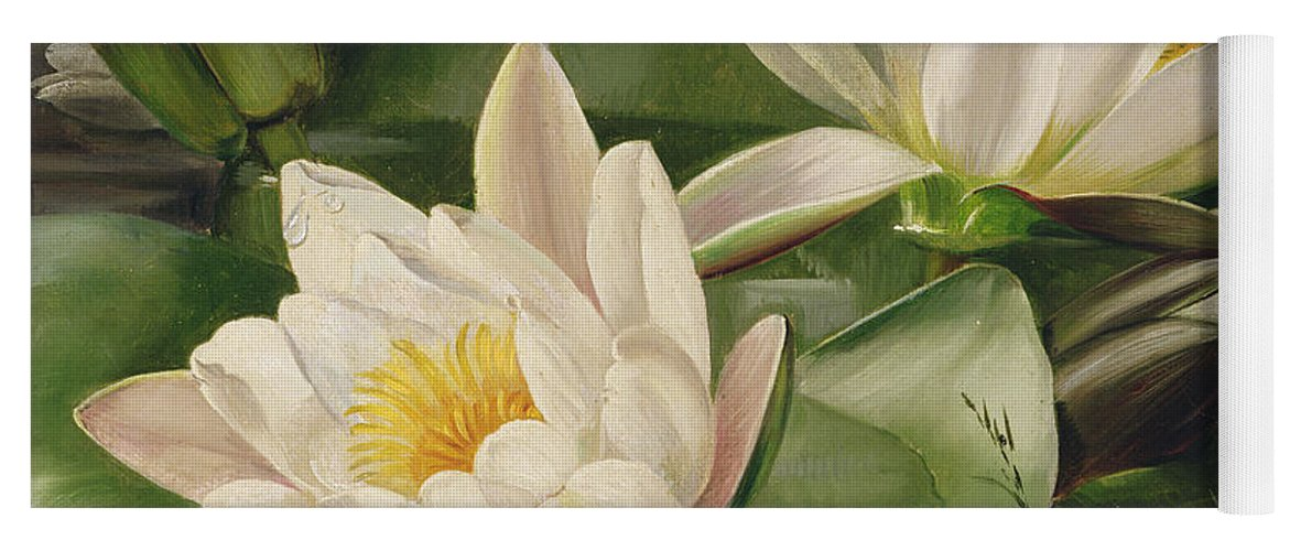 Nature Yoga Mat featuring the painting Water Lilies by Albert Williams