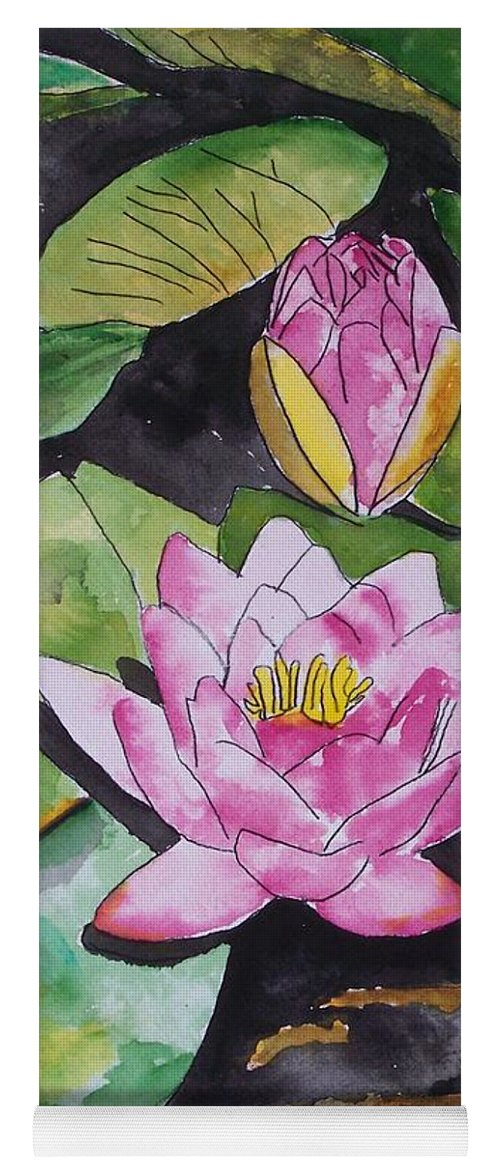 Water Lily Yoga Mat featuring the painting Water Lily by Derek Mccrea
