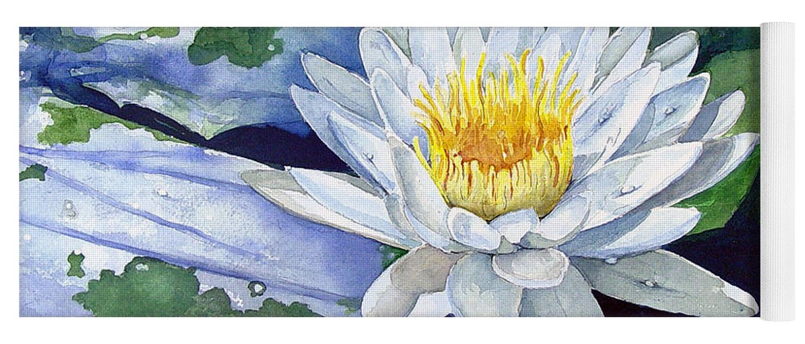 Flower Yoga Mat featuring the painting Water Lily by Sam Sidders