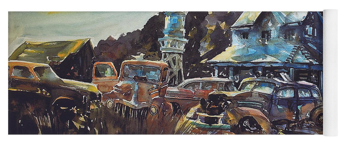 Old Cars Yoga Mat featuring the painting Water Tower Wardens by Ron Morrison