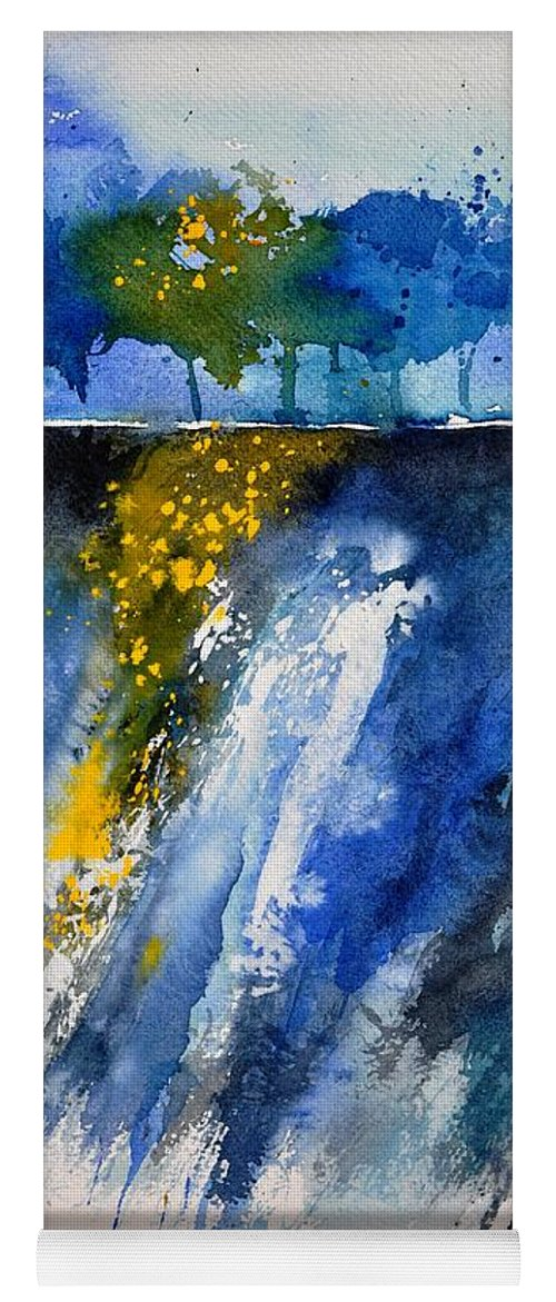 Abstract Yoga Mat featuring the painting Watercolor 119001 by Pol Ledent