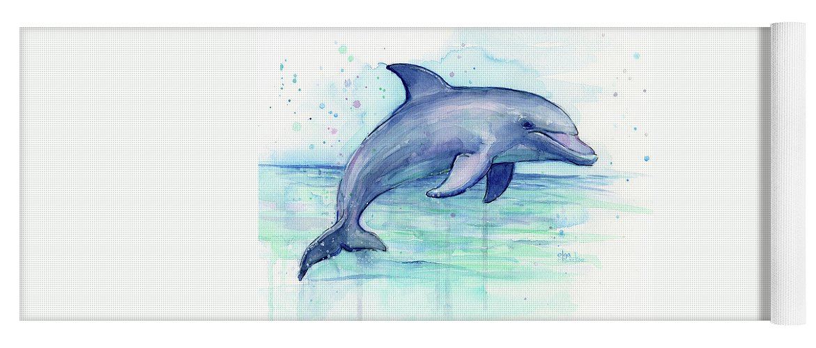 Dolphin Yoga Mat featuring the painting Watercolor Dolphin Painting - Facing Right by Olga Shvartsur