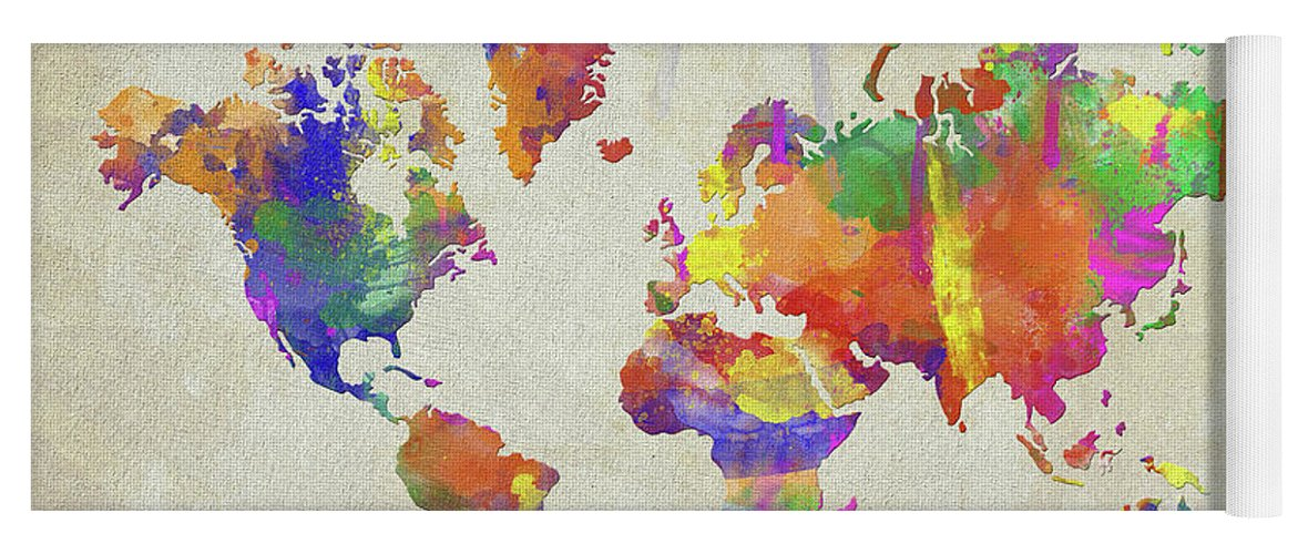 Watercolor impression world map yoga mat for sale by zaira dzhaubaeva map yoga mat featuring the digital art watercolor impression world map by zaira dzhaubaeva gumiabroncs Gallery