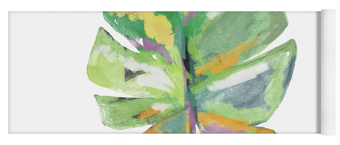 Leaf Yoga Mat featuring the mixed media Watercolor Palm Leaf- Art By Linda Woods by Linda Woods