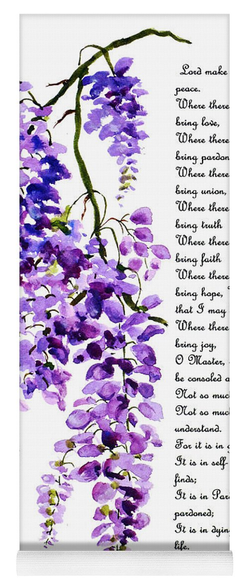 Wisteria Yoga Mat featuring the painting WATERCOLOR  Prayer of St Francis by Karin Dawn Kelshall- Best