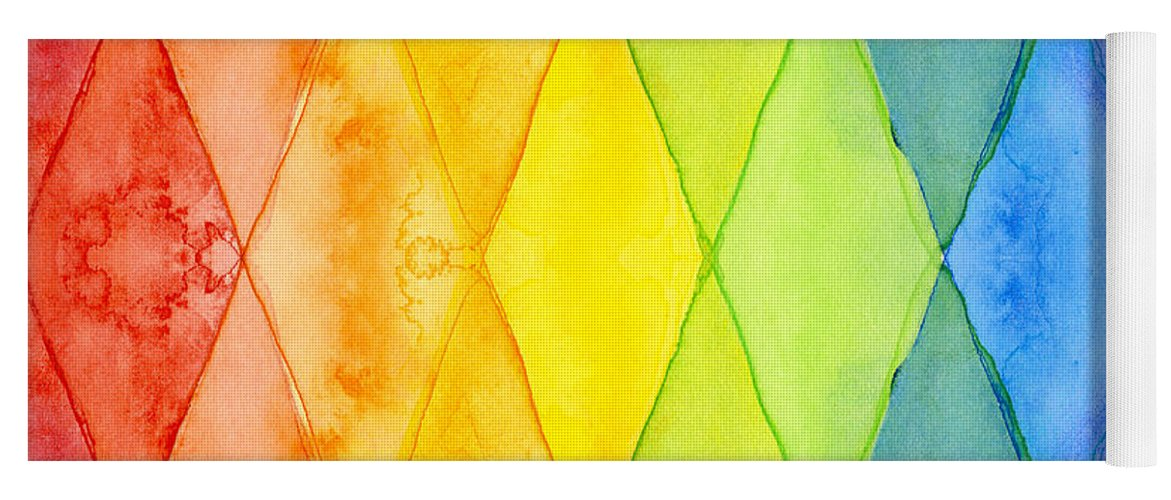Triangles Yoga Mat featuring the painting Watercolor Rainbow Pattern Geometric Shapes Triangles by Olga Shvartsur