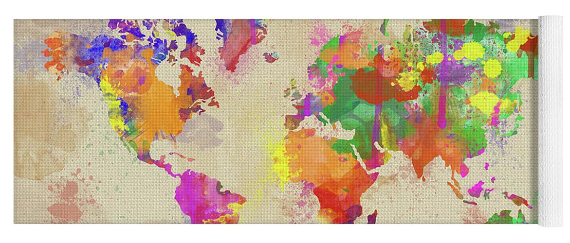 Watercolor world map on old canvas yoga mat for sale by zaira dzhaubaeva map yoga mat featuring the digital art watercolor world map on old canvas by zaira dzhaubaeva gumiabroncs Gallery