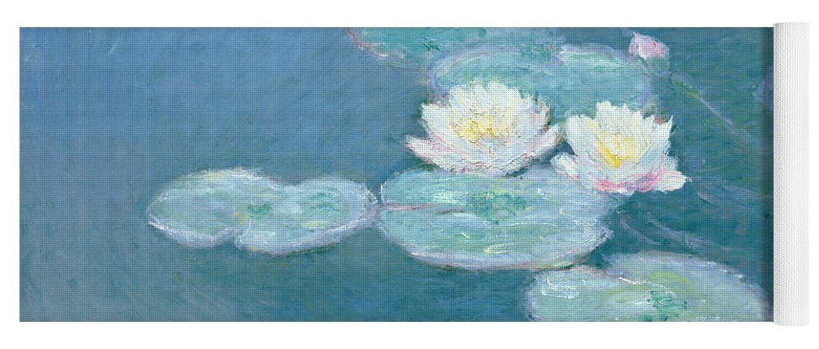 Waterlilies Yoga Mat featuring the painting Waterlilies Evening by Claude Monet