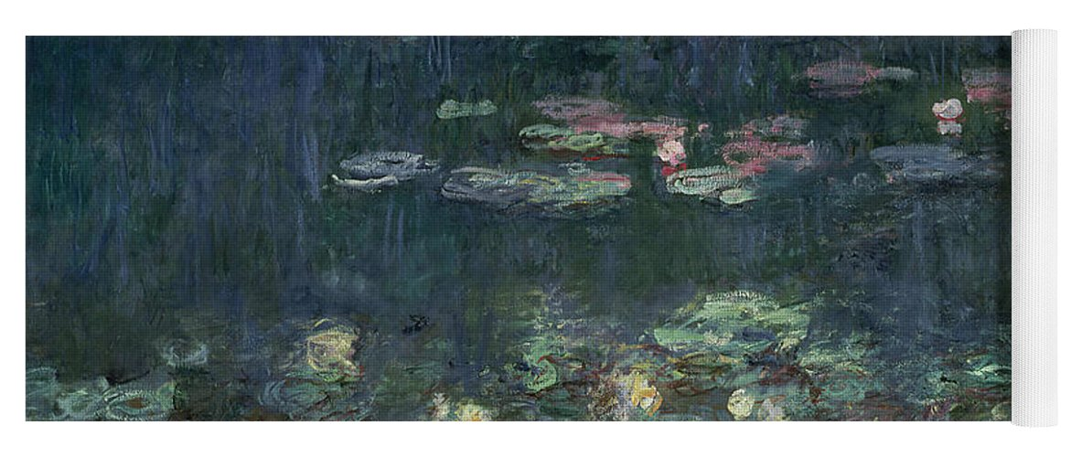 Monet Yoga Mat featuring the painting Waterlilies Green Reflections by Claude Monet