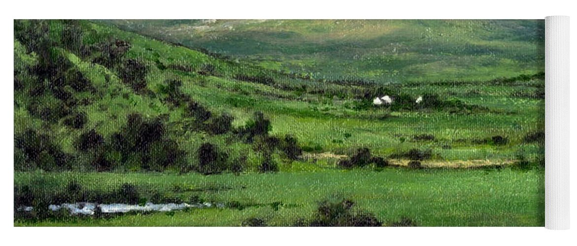 Landcape Yoga Mat featuring the painting Way to Ardara Ireland by Jim Gola