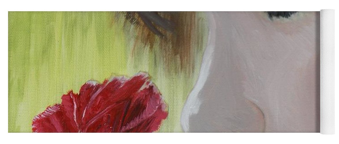 Romance Yoga Mat featuring the painting Wedding Rose by J Bauer