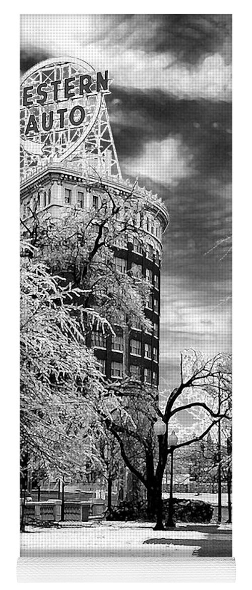Western Auto Kansas City Yoga Mat featuring the photograph Western Auto In Winter by Steve Karol