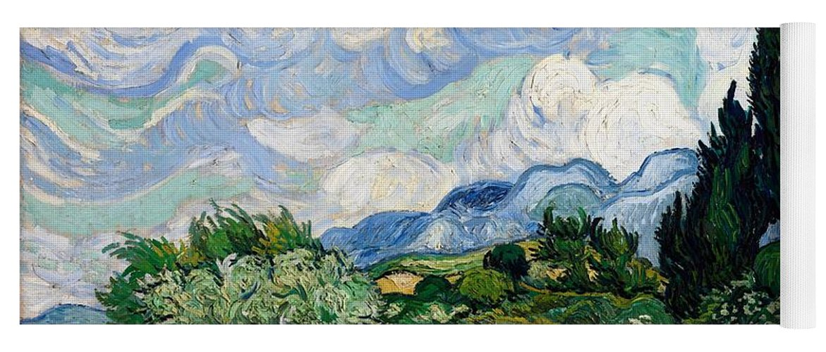Vincent Van Gogh Yoga Mat featuring the painting Wheatfield With Cypresses by Van Gogh
