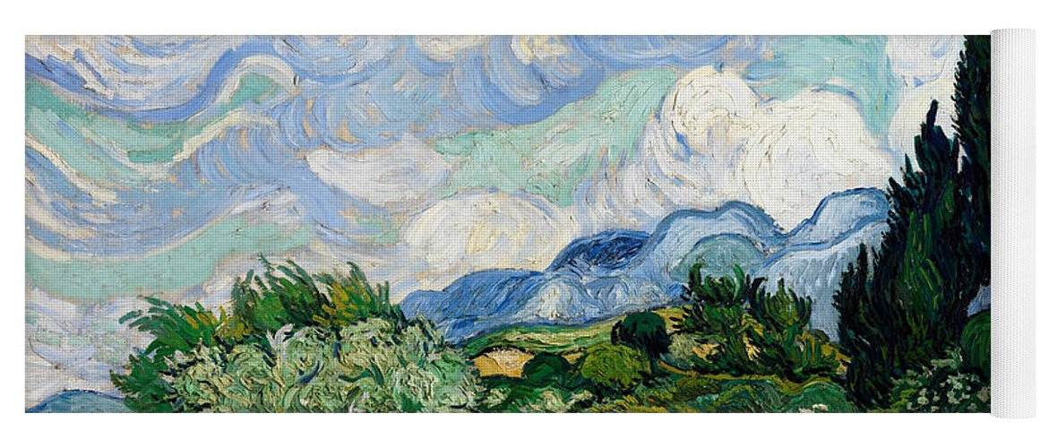 Van Gogh Yoga Mat featuring the painting Wheat Field With Cypresses 18 by Vincent van Gogh