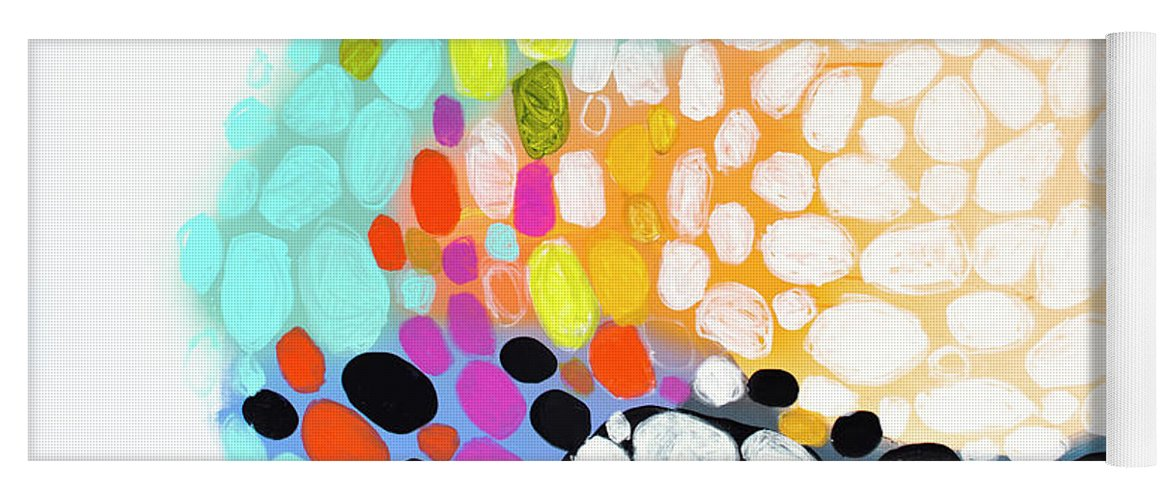 Abstract Yoga Mat featuring the painting When You Get Home by Claire Desjardins