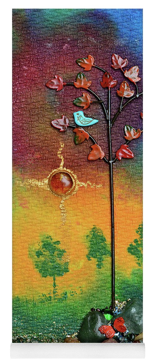 Mixed Media Landscape Yoga Mat featuring the mixed media Where Fireflies Gather by Donna Blackhall